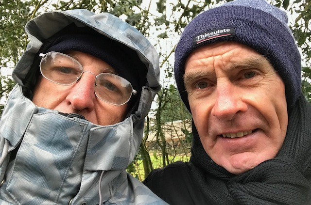 BiciSport in Flanders @ 23 Mar - conditions at the E3 Harelbeke were best described as damp, dismal & bleak. Mike O'Reilly & Mike Lawson on the single track Boueke climb near Ronse