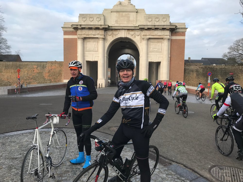 BiciSport in Flanders @ 24 Mar - GW Cyclosporive and Daniel Vanechop & Brian Sprouster at the Menin Gate in Ieper. The Menin Gate is a World War 1 Monument to those fallen soldiers with no known grave.