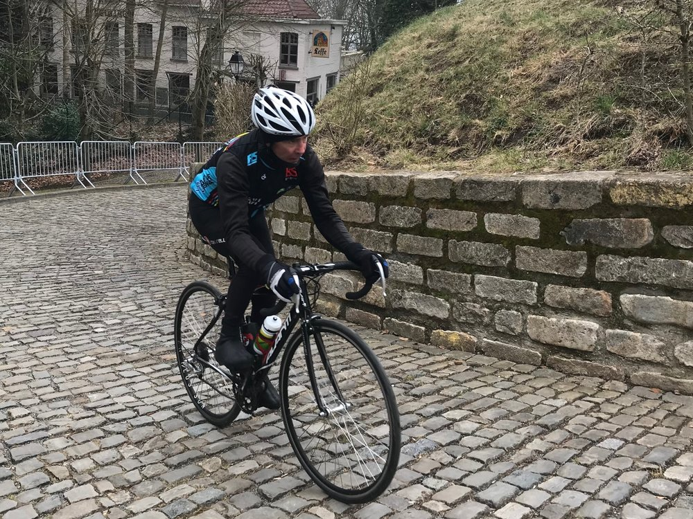 BiciSport in Flanders @ 26 Mar - Today was Muur (or Wall) day at the Muur of Geraadsbergan. A famous cobbled climb used in major races over several decades. Mike Lawson just near the summit.