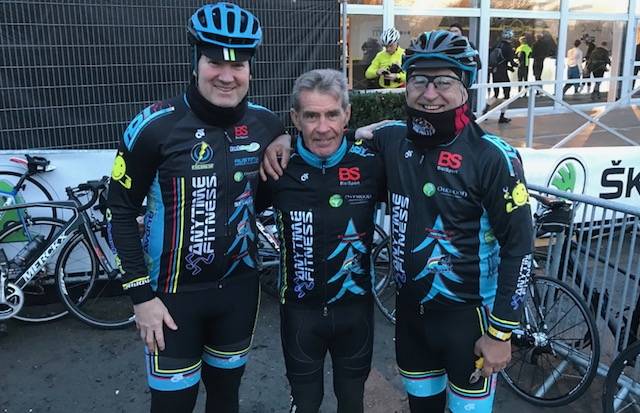 BiciSport in Flanders 18 @ 31 Mar - the day of the Tour of Flanders Cyclosportive at the Flanders Finish Village breakfast with (left to right) with Mike O'Brien, Mike Lawson & Mike O'Reilly