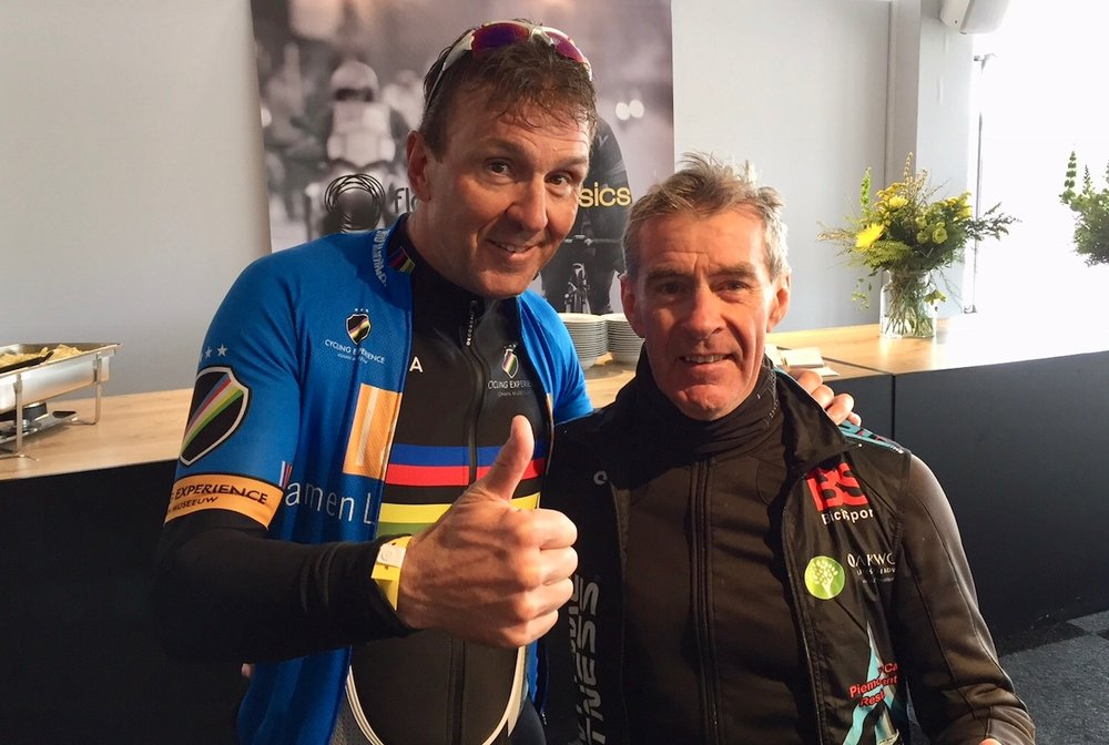 BiciSport in Flanders 18 @ 31 Mar - back at the Tour of Flanders Village after the Cyclosportive ... Mike Lawson catches up with Johan Museeuw.  Johan was World Professional Road Race Champion and multiple Paris Roubaix and Tour of Flanders winner.