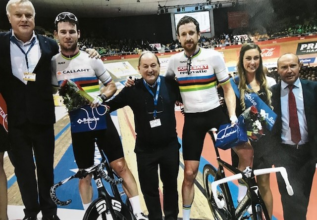 BiciSport in Flanders 18 @ 2 Apr - Eddy Verbust (centre of picture) has been involved with the Ghent 6 Day over the last 40 years. Eddy also has the largest private cycling museum in Belgium