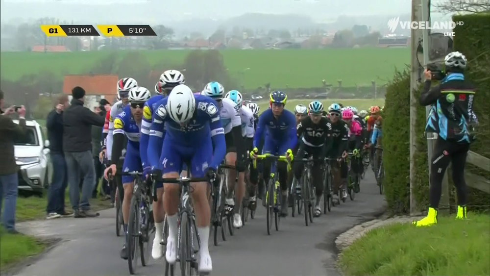 BiciSport in Flanders 18 - Mike Lawson (BiciSport) seen right on SBS TV during the Tour of Flanders at the Kortekeer climb