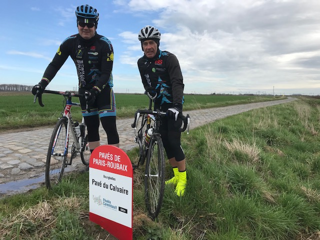 BiciSport in Flanders 18 @ 3 Apr - a short drive from Oudenaarde to the Bourghelles cobbles for a recce of the Paris Roubaix cobbles to come the next weekend. Mike O'Brien (right) and Mike Lawson. Conditions were dry with a firm cold wind. After the cobbles recce it was a ride along the Schelde River back into Belgium and into Oudenaarde.
