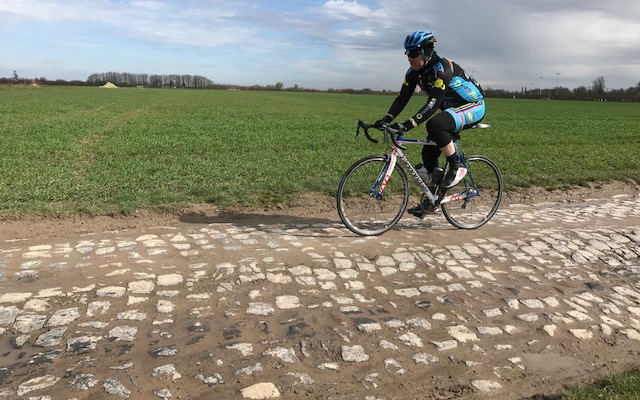 BiciSport in Flanders 18 @ 3 Apr - Mike O'Brien on the Carrefour De L'Arbre cobbles. The cobbles were in very poor condition (that would be a complete understatement).