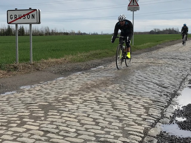 BiciSport in Flanders 18 @ 3 Apr - the final stretch of cobbles on this mid week Roubaix recce  ... Mike Lawson & Mike O'Brien on the Gruson cobbles just outside Roubaix