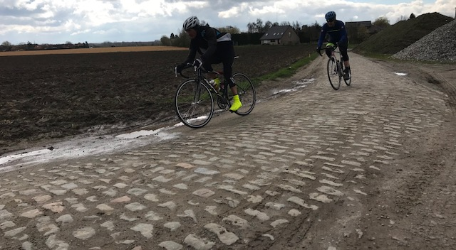 BiciSport in Flanders 18 @ 5 Apr - Roubaix cobbles with Mike Lawson leading Mike O'Brien