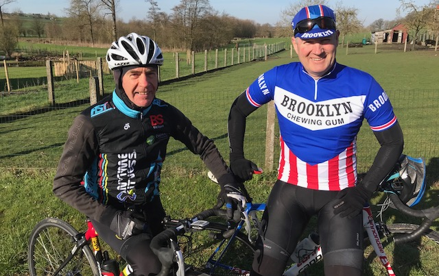 BiciSport in Flanders 18 @ 6 Apr - a time for Mike O'Brien to go Brooklyn 70's retro outside the Kokerelle B&B