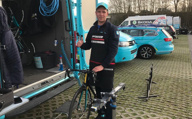BiciSport in Flanders 18 @ 6 Apr - The Under 23 Tour of Flanders for National Teams is held on 7 April in and around Oudenaarde. The Kazak (Astana) team mechanic was caught preparing the Under 23 team bikes near the Tour of Flanders Museum in Oudenaarde.