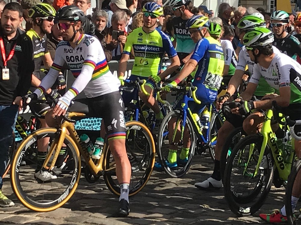 BiciSport in Flanders 18 @ 8 Apr - Paris Roubaix start line with the one the only.  Photo MO'R