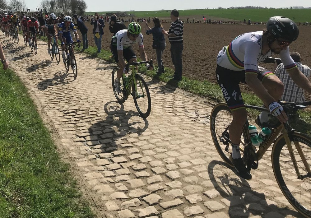 BiciSport in Flanders 18 @ 8 Apr - Peter Sagan on the Quivey cobbles.  Photo MO'R