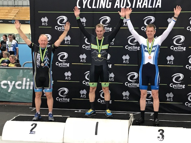 March 2018 - Graham Cockerton finished 2nd in the Cycling Australia National Masters Track Championships in the M5 Scratch Race.