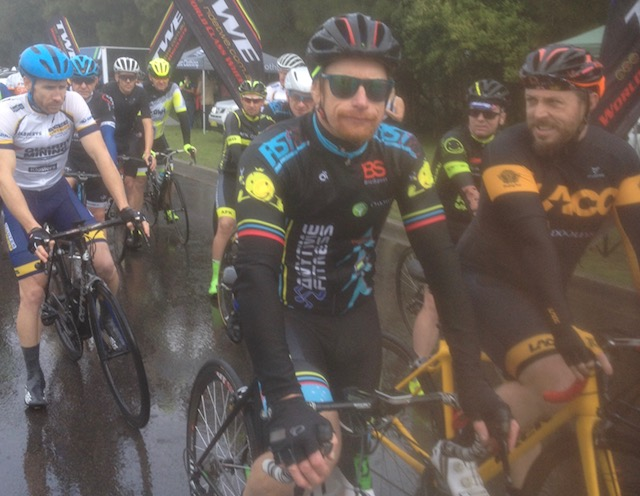Cervelo Masters @ Kooragang @ 11 June - Rhett Hall (BiciSport Anytime) before the start in Division 2 with David Browne (BiciSport Happy Wheels) looking somewhat apprehensive. Conditions were indeed wet.