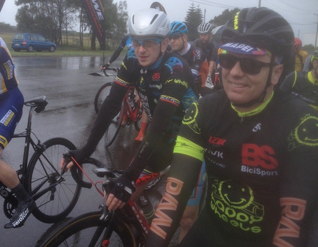 Cervelo Masters @ Kooragang @ 11 June - (L to R) Tom Green (BiciSport Anytime) & David Browne (BiciSport Happy Wheels)