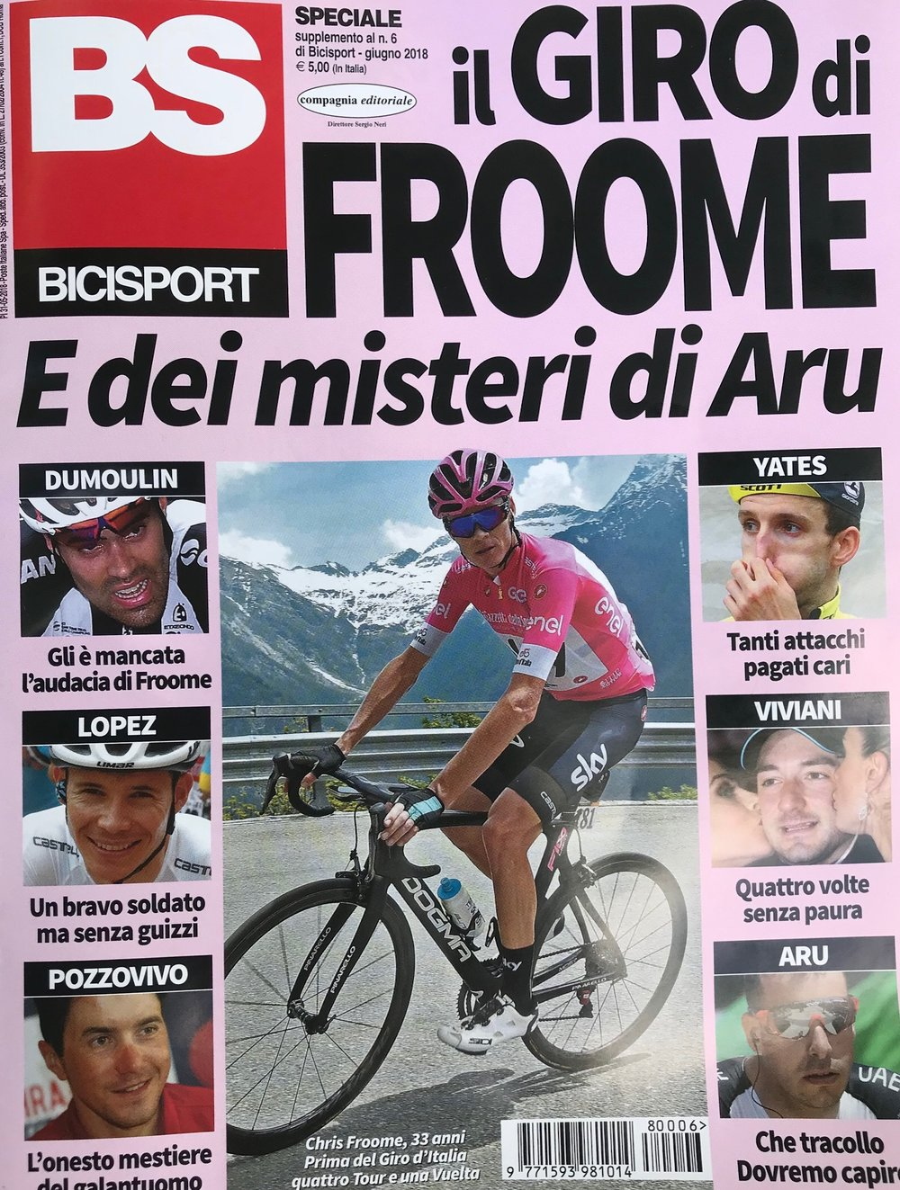 The latest BiciSport magazine highlights the Chris Froome victory at the recent Giro d'Italia