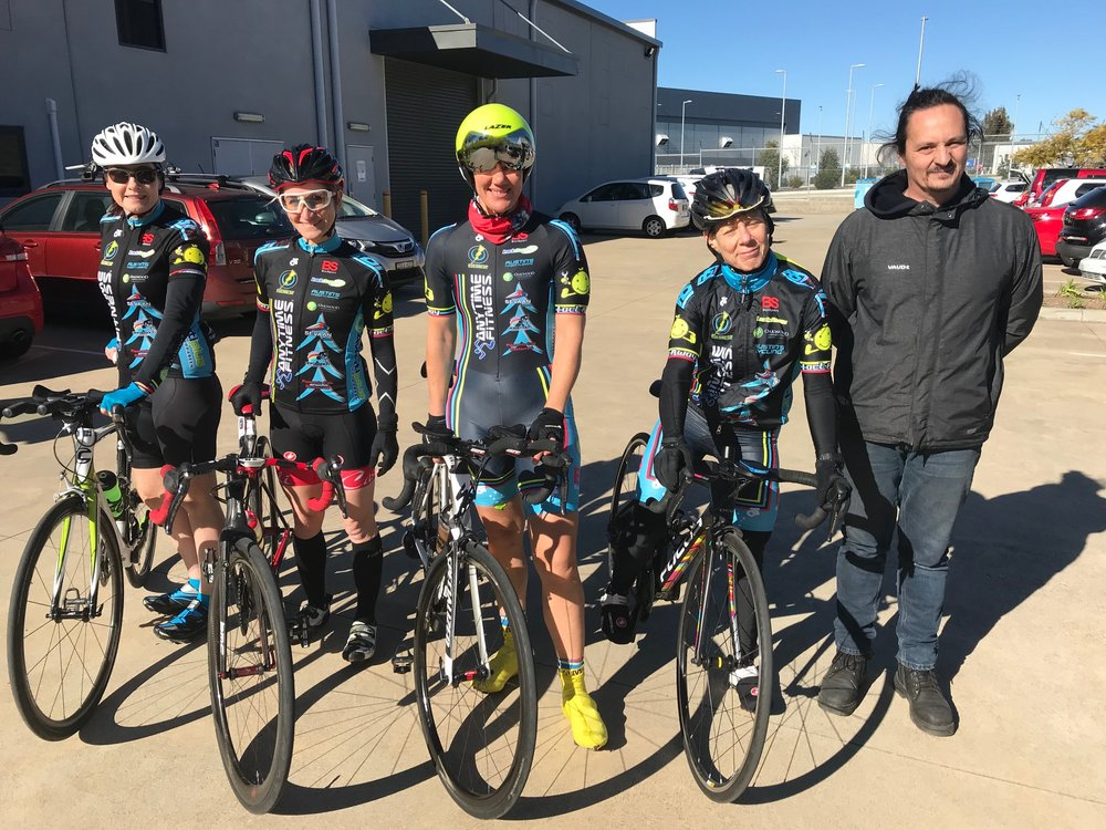 Nowra Team Trial Championships @ 21 July - BiciSport Womens team of Melissa Budd, Natalie Rutherford, Ruth Strapp & Lisa Benjamin with Darren Crouchley (Manager/Mechanic). The Womens team finished 4th.