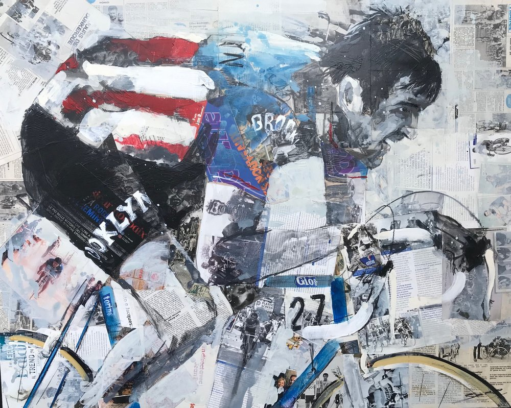 Featured in the Bianchi Cafe in Milan is a painting of Roger De Vlaeminck during Paris Roubaix
