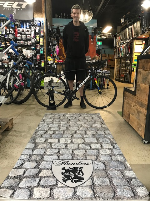 S  tewart Campbell & Happy Wheels Waterloo now feature their own piece of special Flanders cobbled nostaglia as you walk in the front door