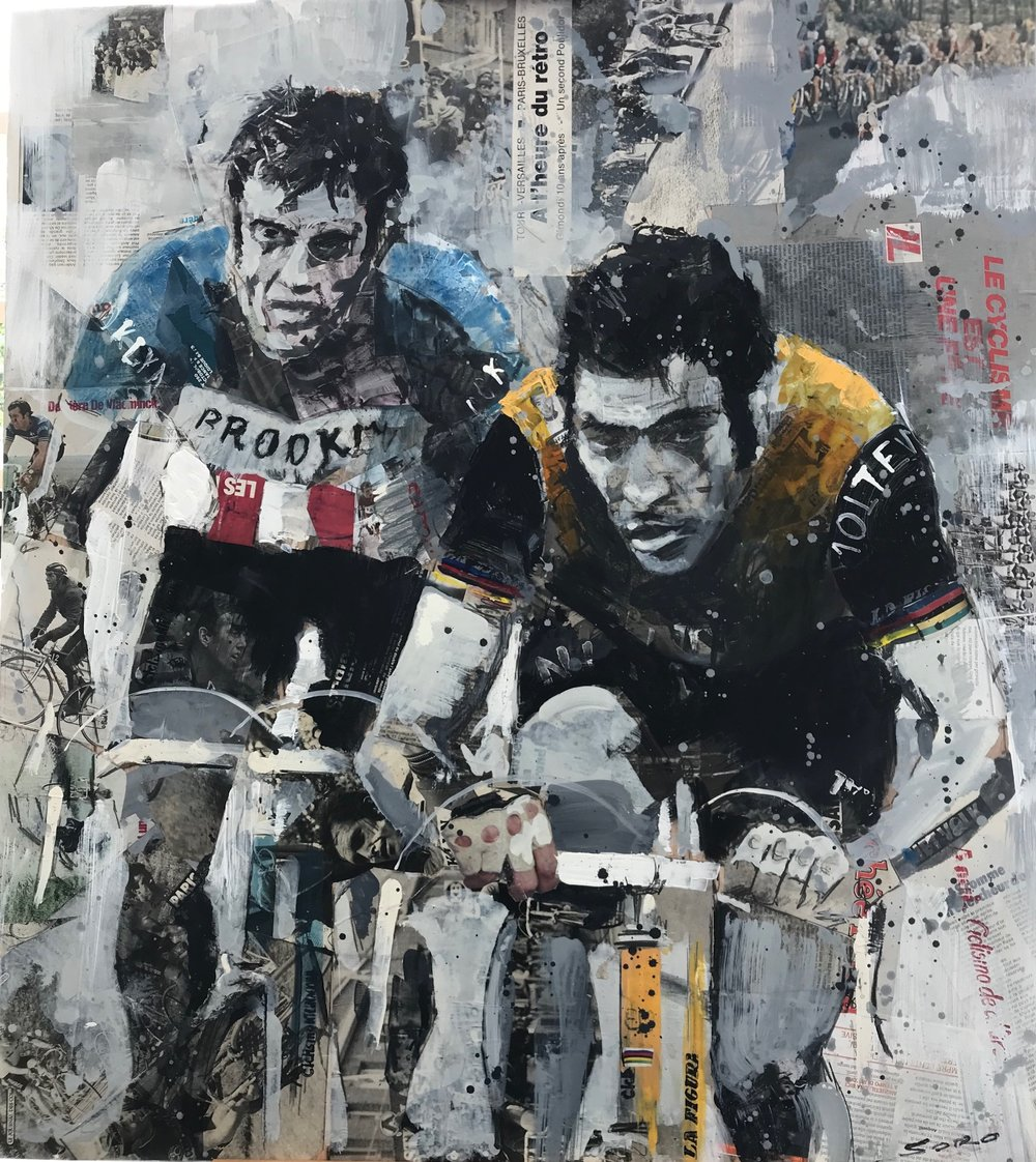 The Bianchi Cafe in Milan features this painting of Roger De Vlaeminck & Eddy Merckx in Paris Roubaix