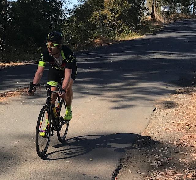 Tour de Bello 18 - Stewart Campbell (BiciSport Happy Wheels) on the Alpe D'Kalang descent into Bellingen township
