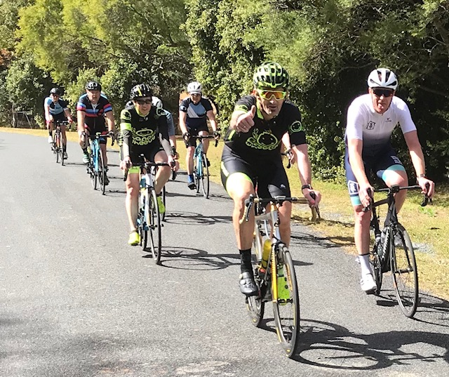 Tour de Bello 18 - Day 3 of the TdB near the Bonville Golf Course. Stewart & Mirielle Campbell just ahead of Danny O'Keefe