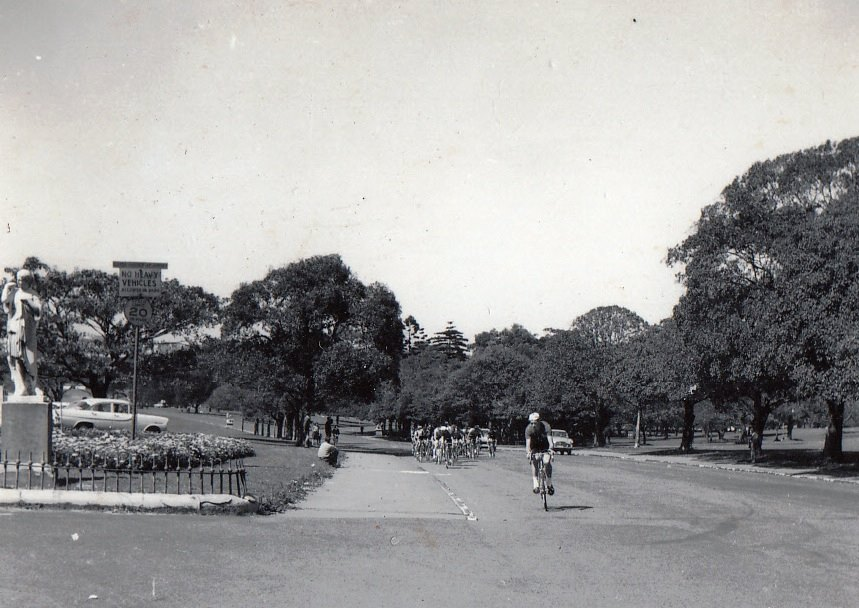 NSW State Road Championships 1963 in Centennial Park Sydney. The road system now goes in the opposite direction and this is the corner before the long climb towards the Paddington Gates