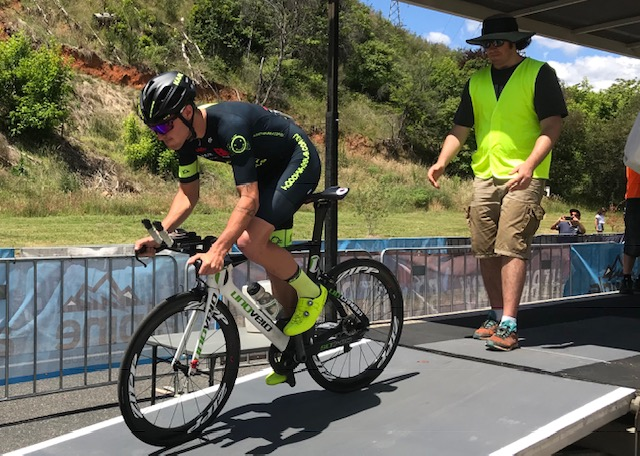 Tour of Bright 18 @ 30 Nov - Declan Jones off the ITT ramp at Porepunkah