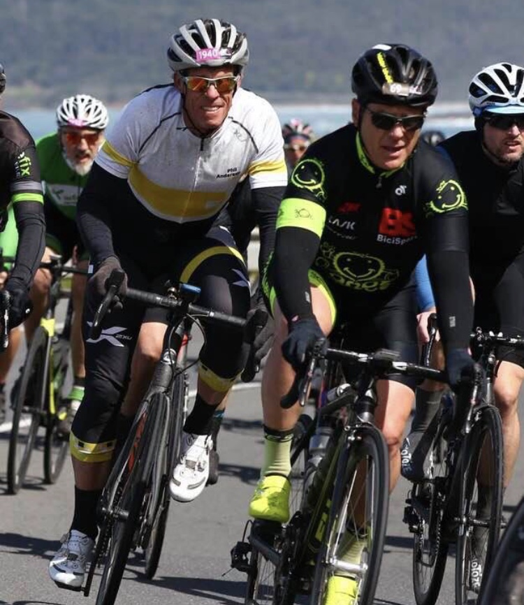 Amy Gillett Gran Fondo @ Sept 18 - Peter Budd (BiciSport Happy Wheels) leads Phil Anderson