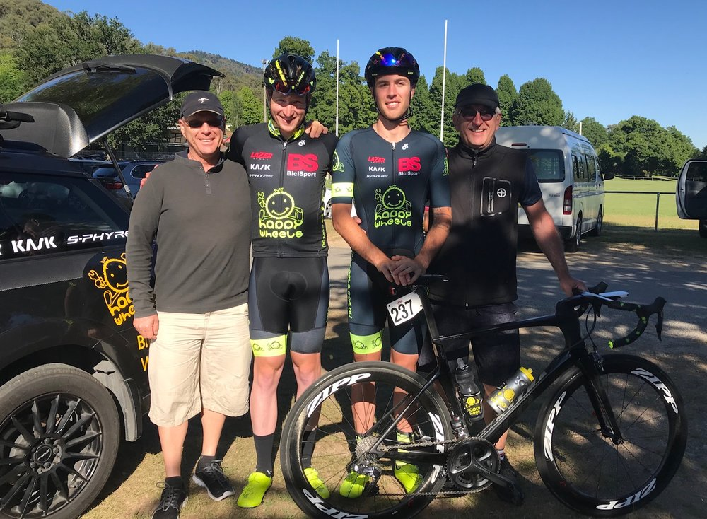 Tour of Bright 18 @ 1 Dec - Before the start of the Tawonga Gap stage with Peter Budd, Conor Tarlington, Declan Jones & Mike O'Reilly.