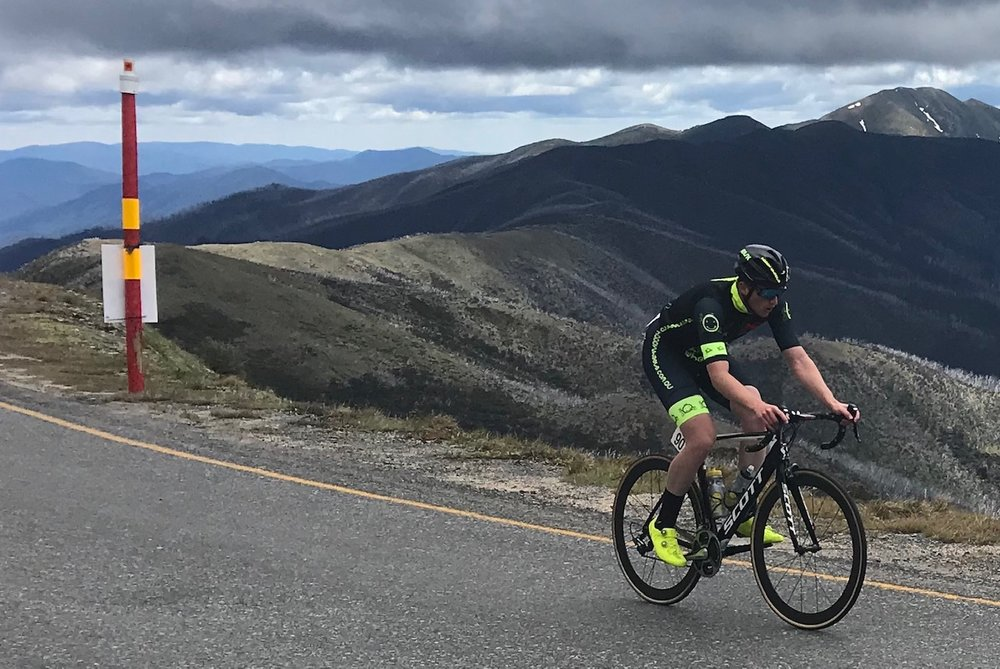 Tour of Bright 18 @ 2 Dec - Conor Tarlington on top of Mount Hotham