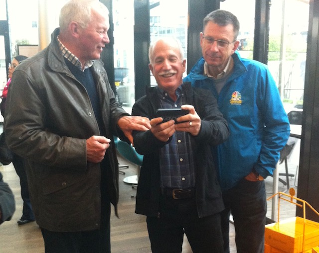 Paul Sherwen (right) @ Lille Casino dinner just before the Paris Roubaix professional classic @ April 2014