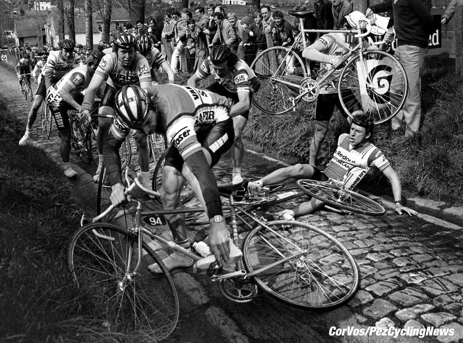 Tour of Flanders 1983 - Paul Sherwen on the deck on the steep Koppenberg climb near Oudenaarde