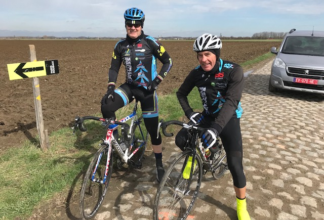 Mike O'Brien & Mike Lawson on the Paris Roubaix cobbles in 2018