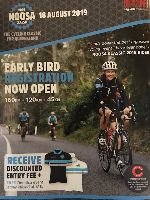 Noosa Classic Cyclosportive is on 18 August 19