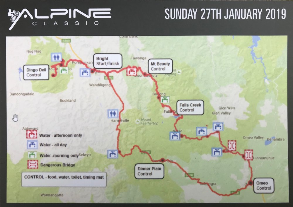 The Alpine Classic @ 27 Jan @ Bright (Vic) offered numerous ride options to Dingo Dell (top of Mt Buffalo), a Falls Creek Ski Station & return option, or the Omeo loop (with an overnight stay in Omeo).