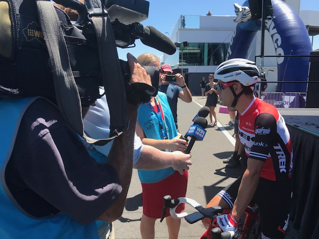 HST 19 @ Wednesday @ Phillip Island - Ritchie Porte in the media huddle before the start