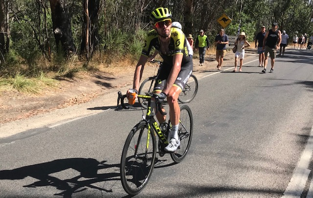 HST 19 @ Saturday @ Arthurs Seat finish - Damien Howson (Mitchelton Scott) after a dramatic days racing in sweltering conditions. Team Sky turned the race on its head and went yellow
