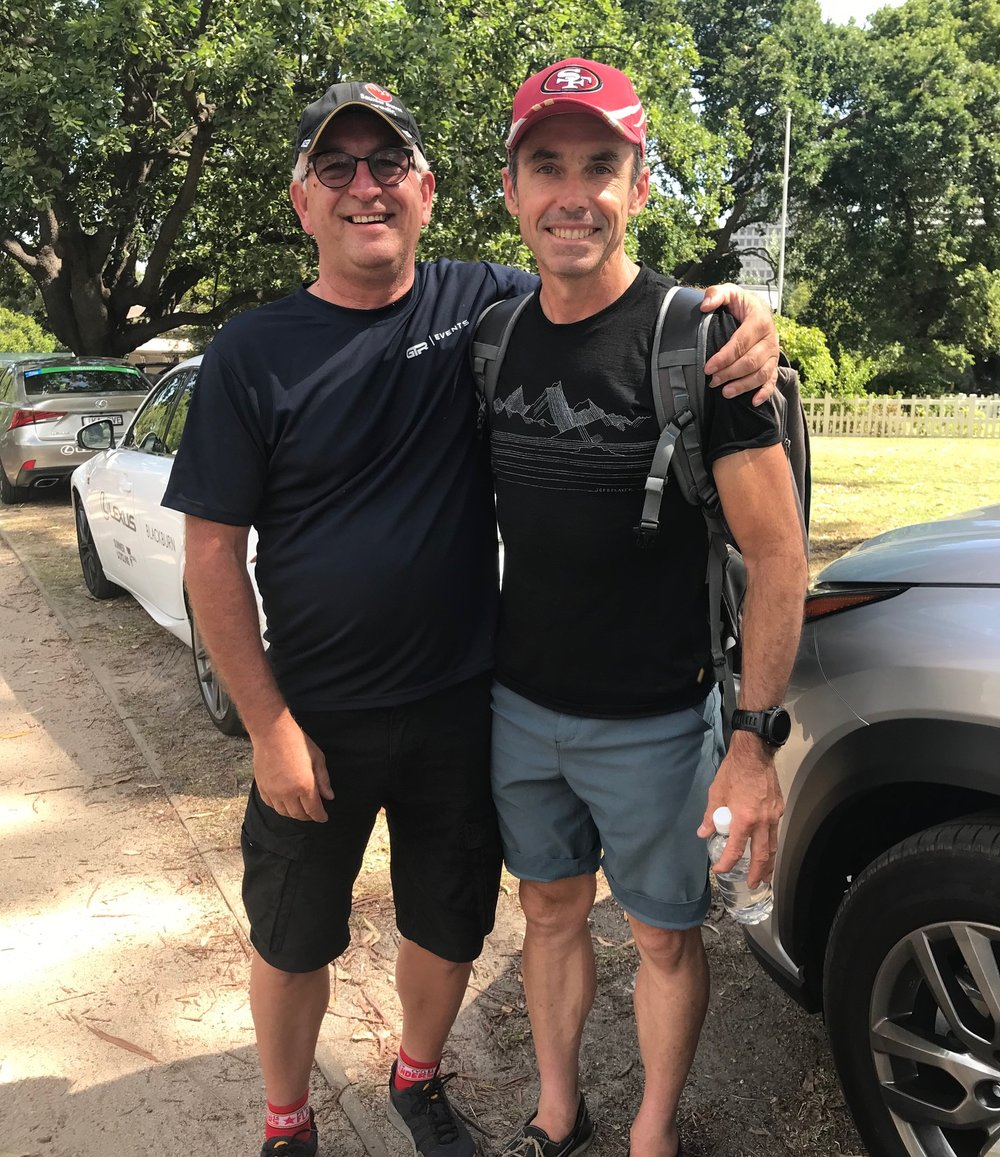 Herald Sun Tour 2019 - it was like old times meeting a youthful Steve Stannard (right) at the last stage of the HST19 in Melbourne's Botanic Gardens. Robert Stannard (son) rode an outstanding HST 19.