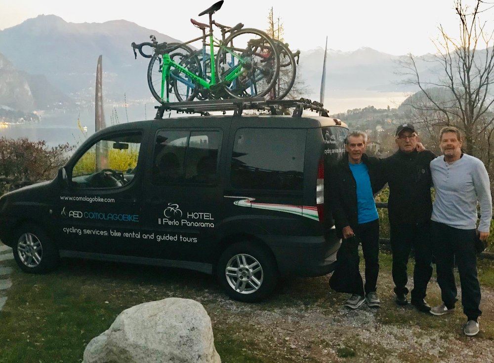 Milan San Remo Ride @ 23 March -  6.00am start from IL Perlo (L to R) - Mike Lawson, Mike O'Reilly, Marty Wright   MSR Ride Report @ 23 March   An early 6.00am departure out of Bellagio and a 3 hour drive towards Genoa and the Ligurian Coast. Conditions were perfect with 24 degrees forecast and a storming tailwind towards San Remo.  The ride started just outside Genoa at the small village of Voltri. The early part of the ride is easy undulating to pan flat on very good roads, with the last 50k (of the 145k total) being the hilly, difficult section. A succession of headlands puts up a few easy climbs to be greeted by stunning views around the next corner. It was of no consequence for Mike O'R who didn't get past the 30k mark and pulled the pin courtesy of asthma/sinus (2020 it will need to be). Abject disappointment doesn't quite describe that DNF.  Alberto Elli led Mike Lawson & Marty Wright through endless seaside villages towards Savona (more a seaport city than a coastal village), then onto the major climbs (called  capo ) of the day - Capo Berta, Capo Cervo, Capo Mele and the Cipressa climb. The Cipressa itself had pinches of 8% so it is a bona fide effort to the summit. A sharp drop off the Cipressa back down to the coastline and all roads lead towards the Poggio.  Maurizio (our IL Perlo mechanic/driver) was not allowed to park the Perlo team car on the Poggio climb itself, so we parked up at the bottom of the Poggio (a cafe nearby provided food & coffee AND the priceless television pumping out the race live). The BiciSport group simply pedalled up the Poggio to watch the Classic pass by being the last challenge of MSR 19.  Many thanks to IL Perlo at Bellagio for providing a majestic backdrop to all things MSR19. Thank you to Carlo at IL Perlo, Alberto Elli (what a legend & total gentlemen), Como Bikes for providing the two wheel logistics. Can't wait to do this all again in 2020.
