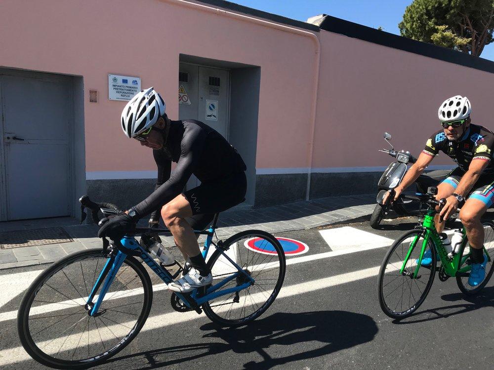 Milan San Remo Ride @ 23 March -  Mike Lawson & Marty Wright approaching the Poggio Climb near San Remo