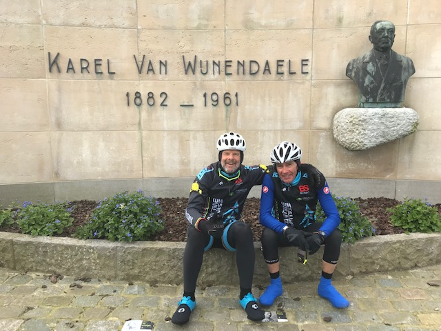 """Karel van Wijnedaele Monument @ 26 Mar  - Marty Wright & Mike Lawson   Koppenberg Loop Ride Report @ 26 Mar   The day dawned sunny & crisp (maximum 10 degrees) with very little wind for a 45k loop through Oudenaarde, then onto the Schelde River bike path towards the Roubaix Velodrome (only 35k away). After 15k at Kluisbergen it was Marty Wright's first taste of Belgian cobbles at the Old Kwaremont. The end result being BiciSport 3 Old Kwaremont 0. The stones were dry & benign and it was off to the Wijnedaele Monument (Karel was the founder of the Tour of Flanders Pro Race).  Next stop was the much steeper Patersberg where Mike Lawson took the solo honours at the top. BiciSport 1 Patersberg 2. From the Patersberg it was a brief effort direction Koppenberg, where again the cobbles looked almost inviting (being dry). If golf is """"a good walk ruined"""" then the Koppenberg is potentially in a similar category. Mike Lawson again took the solo honours … BiciSport 1 Koppenberg 2. The overall Berg Pointscore went something like BiciSport 5 Belgian Killer Bergs 4. A win is a win ! !  The ride finished with a coffee & cake at the Ronde Van Vlaanderen Cafe at the RVV Museum in central Oudenaarde."""
