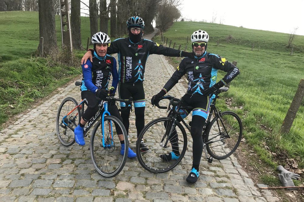 Koppenberg @ 26 Mar -  on the lower slopes of the Koppenberg Climb (aka the Black Beast), Mike Lawson, Mike O'Reilly & Marty Wright