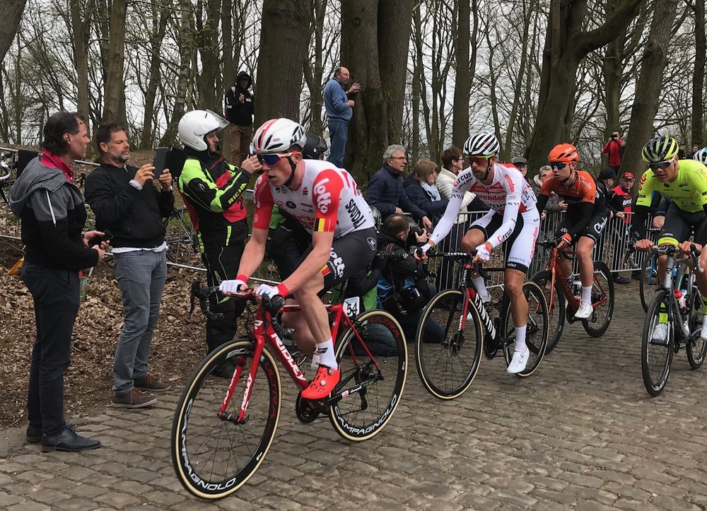 Bruges - De Panne Classic @ 27 Mar  - Martin Wright (second from left) at the top of the Kemmelberg climb as the breakaway passes with a 4 minute lead over the main peloton   Haaghoek & Molenberg Ride Report @ 27 Mar   An earlier start to the day at 8.00am as we needed to be at the Kemmelberg by 1.30pm for the De Panne pro race. The first cobbles of the day was at the Haaghoek, followed by the short Leberg climb (both used in Tour of Flanders pro race on 7 April). A simple wrong turn off the top of the Leberg climb resulted in maybe 1 kilometre of dirt riding which somehow looped us back onto the Haaghoek cobbles again (oops, sorry lads). From there a short run on to the Molenberg cobbled climb towards the Schelde River, then along the Schelde River bike path back into Oudenaarde. Mike Lawson & Marty finished the day with the climb of the Eikenberg cobbles near the Kokerelle B&B.  A short drive from Kokerelle B&B to the Kemmelberg climb in West Flanders was rewarded with a beer at the Kemmelberg Hotel (only 1,497 beers to go).