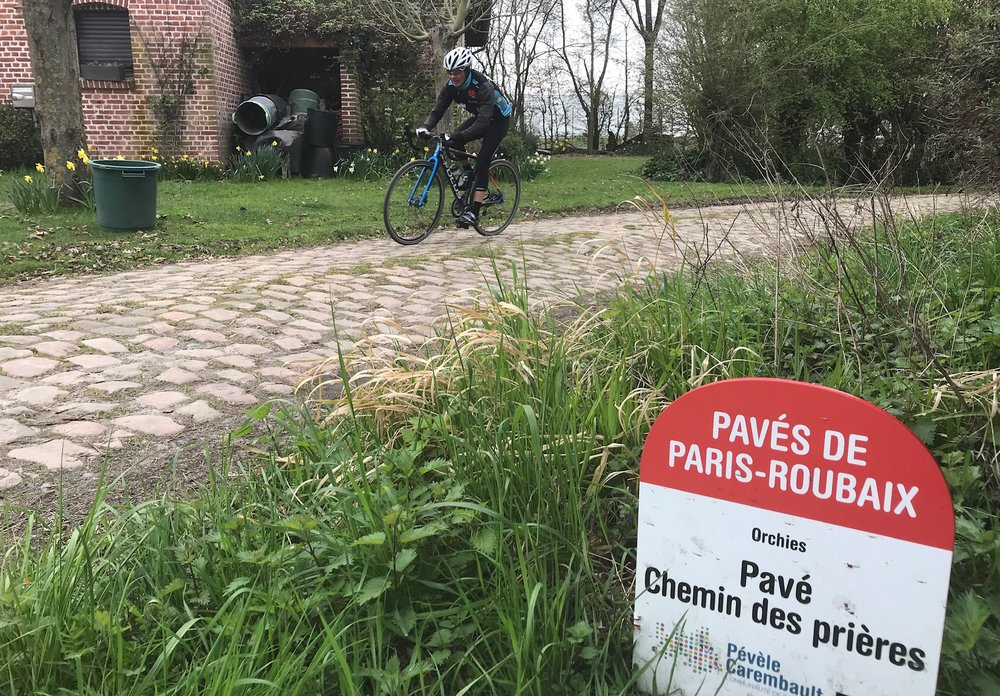 Roubaix Recon Ride @ 28 Mar -  Mike Lawson at the Orchies cobbles (Sector 13)