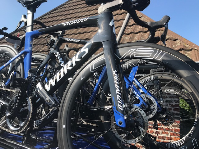 E3 Grand Prix @ 29 Mar @ Kortekeer Climb Feed Zone  - only one thing better than a single Specialised Venge with Rovals … is a ' Specialised Venge swarm ' atop the QS team car. Photo MOR.