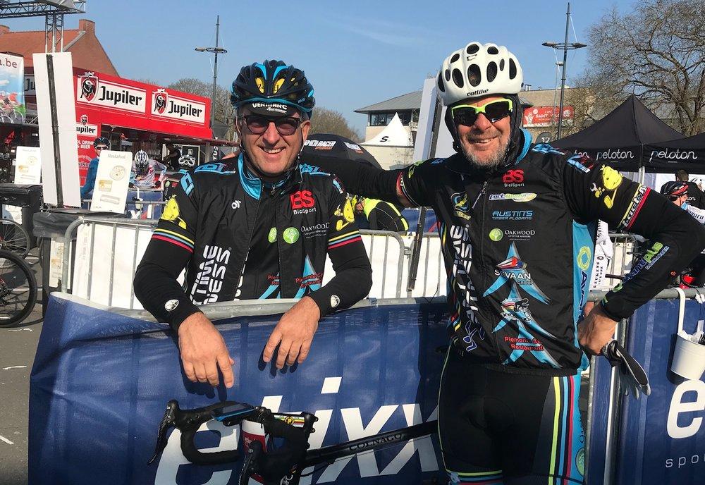 Gent Wevelgem Cyclosportive @ 30 Mar  - Mike O'Reilly & Marty Wright before the Wevelgem start