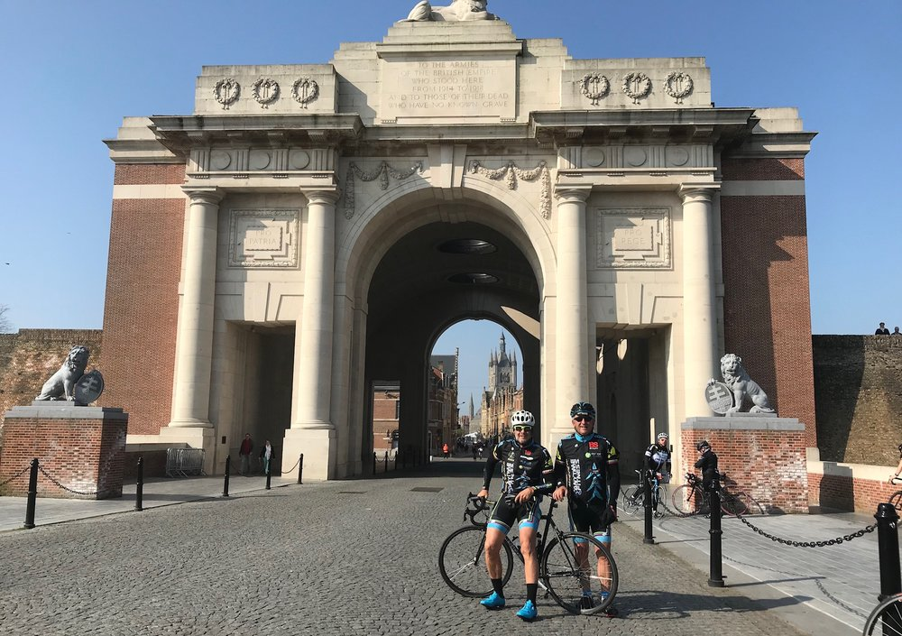 Gent Wevelgem Cyclosportive @ 30 Mar  - Marty & Mike at the Menin Gate in Ieper. At the Menin Gate each night the Ieper Fire Bridge conduct the Last Post Ceremony in respect of the fallen soldiers from WW1.