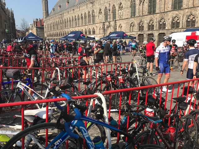 Gent Wevelgem Cyclosportive @ 30 Mar @ Ieper Feed Zone  outside the Ieper Cloth Hall