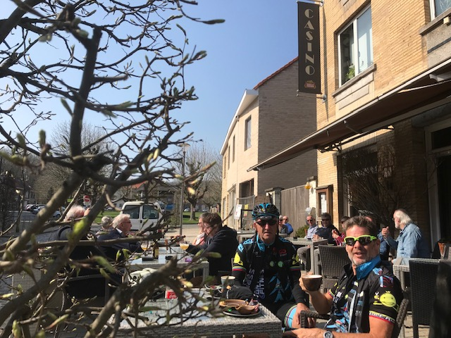 Gent Wevelgem Cyclosportive @ 30 Mar @ Kemmelberg Cafe  - Mike & Marty at the Casino Cafe in Kemmel