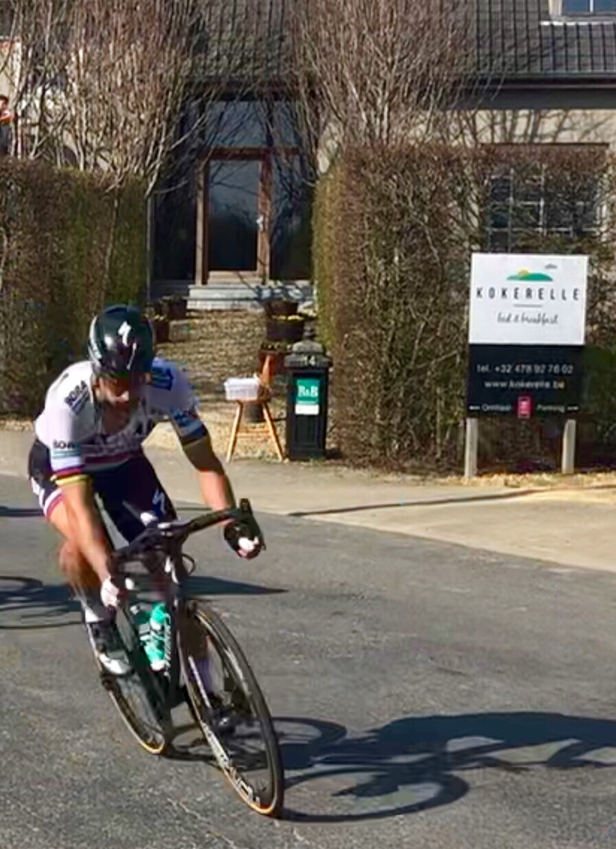 Reprise @ E3 Grand Prix @ 29 March  - The E3 GP circuit passes the Kokerelle B&B and the owner (Kathy Sante) snapped the one & only Peter Sagan on the way through